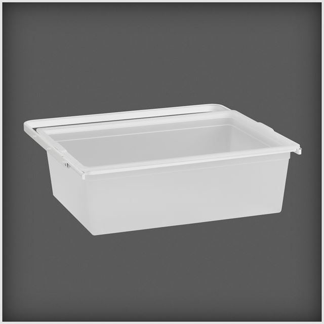 Uttrekkbar boks 605x188x436 mm transparent/hvit  BOKS UTTREKKBAR TRANSPARENT/HVIT Elfa Norge AS