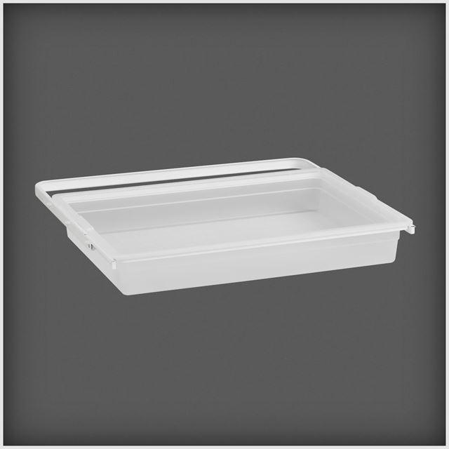 Uttrekkbar boks 605x88x436 mm transparent/hvit  BOKS UTTREKKBAR TRANSPARENT/HVIT Elfa Norge AS