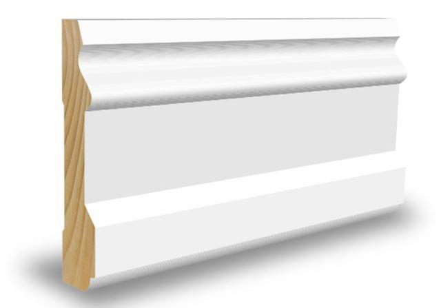 Profilert karmlist 15x70x4400 mm hvitmalt furu Profilert gulvlist 15x70 Combiwood Barkevik AS
