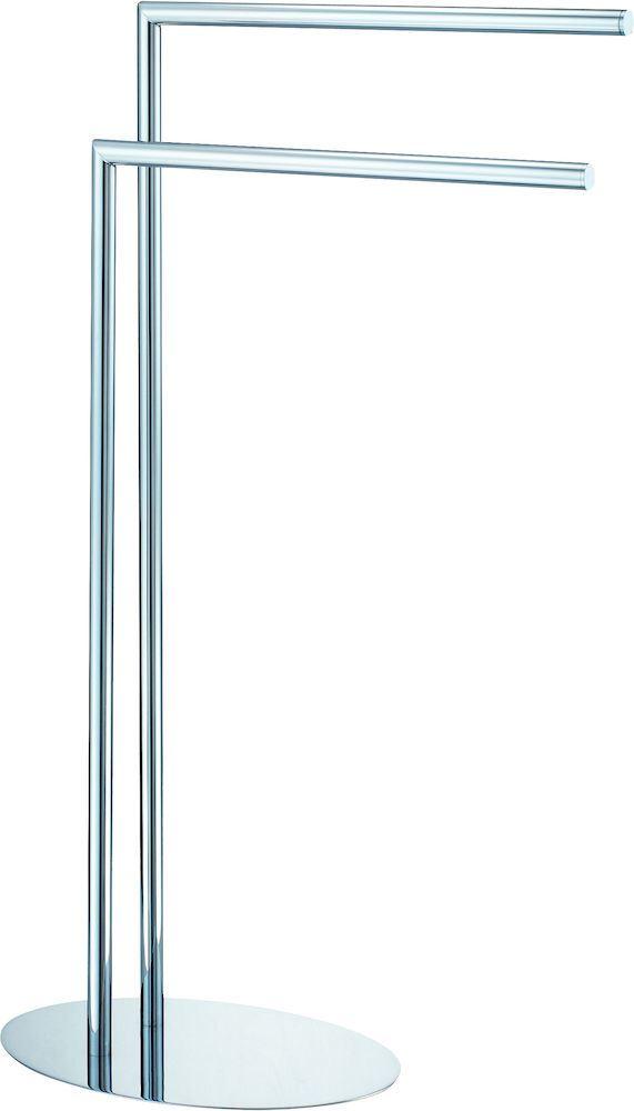 Håndklestativ med 2 armer oval fot krom  HÅNDKLESTATIV FRITTSTÅENDE Ljungmann Engros AS