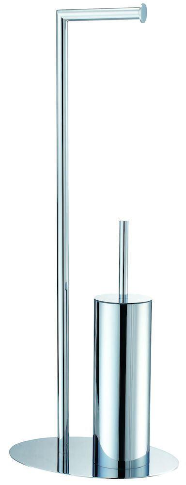 Toalettpapirholder med børste oval for krom  Toalettpapirholder m/børste, LJUNGMANN Engros AS