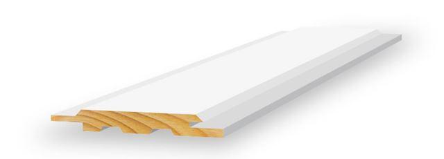 Skyggepanel skrå endepløyd 13x120x4850 mm hvitmalt furu Opus Glattpanel endepløyd hvitmalt furu, BARKEVIK BRUK AS Optimera AS