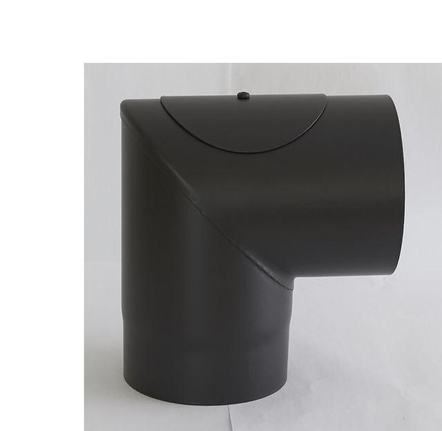 Røykrør ø 125x250x199 mm 90 grader m/lokk sort matt emailje 1,1 mm Røykrør, Jøtul Jøtul AS