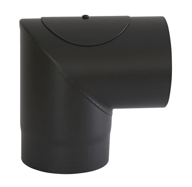 Røykrør ø 150x237x237 mm 90 grader sort matt emalje 1,1 mm m/luke Røykrør, Jøtul Jøtul AS