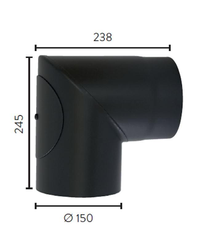 Røykrør ø 150x245x238 mm 90Grader m/luke sort matt emalje 2,3 mm  Røykrør, Jøtul Jøtul AS