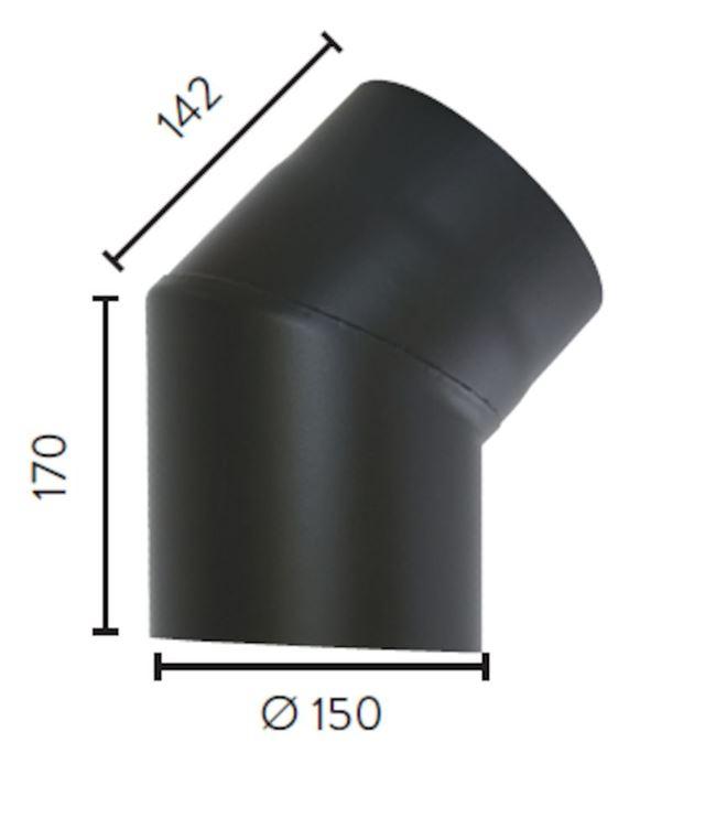 Røykrør ø 150x170x142 mm 45Grader sort matt emalje 2,3 mm Røykrør, Jøtul Jøtul AS