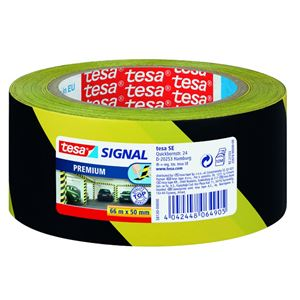 Varseltape gul/sort 66 m x 50 mm
